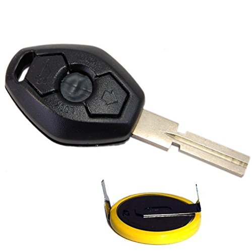 HQRP Key-Fob and Battery compatible with BMW X3 E83 2004 2005 2006 2007 2008 2009 Remote Shell Case Cover Smart Key Keyless FOB + Coaster