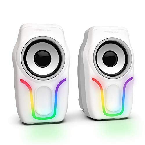 Computer Speakers,2.0 Stereo Volume Control Gaming Speakers with Surround Sound,6 RGB LED Backlit Effect,USB Powered Wired Laptop Speakers with 3.5mm for Desktop Computer/PC/Laptops(White)