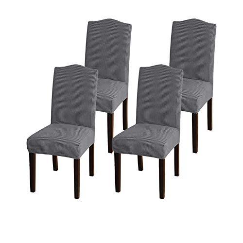 GAEA.TEX - Juego de fundas para sillas de comedor, Gris, 4