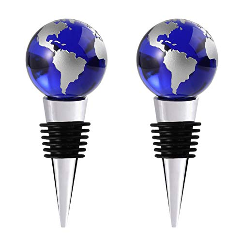 Wine Stoppers, Decorative Blue Crystal Globe Wine Bottle Stoppers with Luxury Box Beverage Wine...