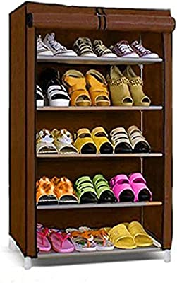 Multi-Functional Brown 5-Step Folding Shoes Hanger Storage Organizers By Krishyam