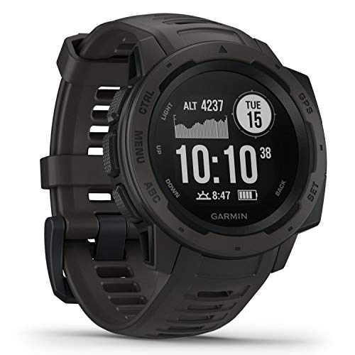 Garmin  010-02064-00 Instinct, Rugged Outdoor Watch with GPS, Features Glonass and Galileo, Heart Rate Monitoring and 3-Axis Compass, Graphite, 1.27