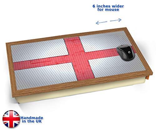 England World Cup Flag Cushioned Bean Bag Laptop Lap Tray Desk - Built-in EMF Shield (Electro Magnetic Field) Kissen Tablett Knietablett Kissentablett - Holz Effekt Rahmen