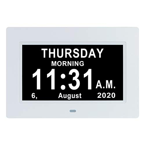 7 INCH Day Date Dementia Clocks Auto-Dimming 12 Alarm Reminders Extra Large Non-Abbreviated Day & Month 12/24 Hours Display Digital Calendar Clock for Seniors Elderly Vision Impaired Memory Loss