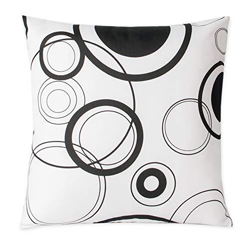 Kissenhülle Black & White Muster Kreise schwarz weiß Kissenbezug Deko Kissen modern #1454 (weiß, ca. 40x40 cm)