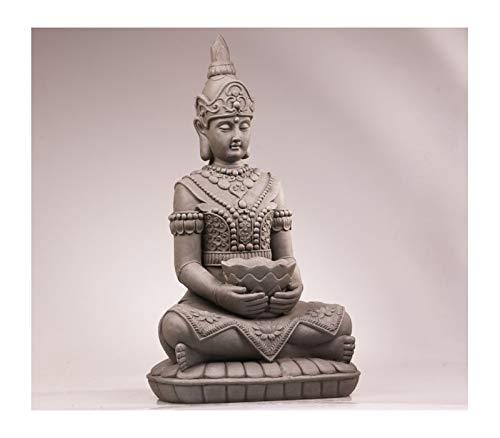 Statuette Bouddha Guanyin Assis avec Vasque - Maison/Jardin - 66 cm (Hauteur) - Gris