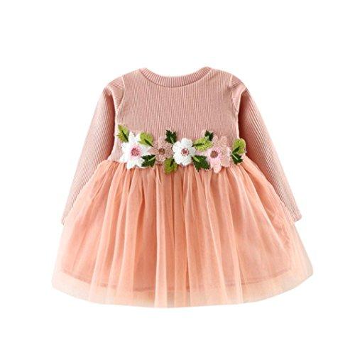 Otoño invierno lindo bebé niña tutú floral de manga larga vestido de princesa 0-24 Mes (Tamaño:18-24Mes, Rosa)