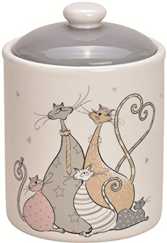 Pommerntraum ®   Keksdose - Plätzchendose - Keramikdose - Bonbondose aus Keramik - Bonboniere - Teedose - Zuckerdose - Vorratsdose - Katzendose mit Katzen + Katern (Katzen-Familie)