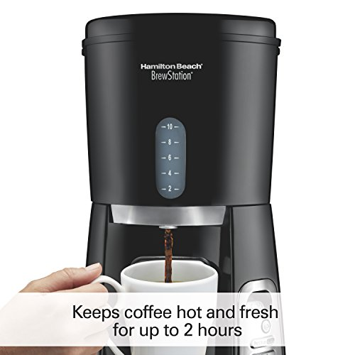 Hamilton Beach 10-Cup Coffee Maker, Programmable BrewStation Dispensing Coffee Machine (47380),Black