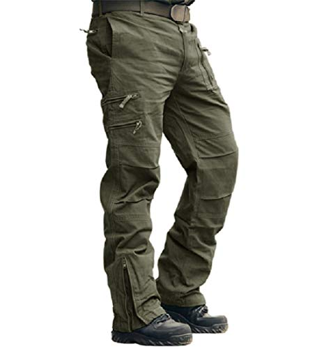 CRYSULLY Mens Fashion Active Loose Fit Hunting Heavy Duty Battle Pants Army Combat Workwear Cargo Pants Olive Green
