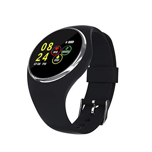 OMJNH Smartwatch met bluetooth, hardlopen, fietsen, zwemmen, realtime, hartslagherkenning, smart-afstandsbediening camera, multifunctioneel, zwart