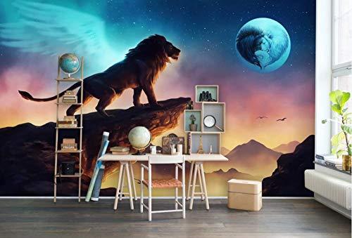 Fototapete 3D Effekt Tapete 3D Hand Gezeichnet Sonnenuntergang Löwe - Moderne Wanddeko Design Tapete Abstraktion Und Kunst-Tiere/Fauna Wohnzimmer Schlafzimmer Dekoration -200x140CM-XL