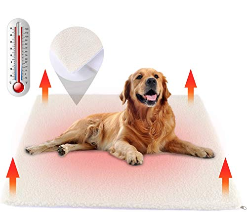 Nemobub Pet Heating Pad,Thermal Thick Cashmere Self-heating Blanket Mat,Cordless Dog Cat Heating Pad Outdoor,Replaceable Washable Cover,Anti-slip Bottom,Suit for Most Dog Cat Bed Cage,24'' x18'' White