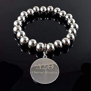 Nattaphol 316L Stainless Steel Delta Sigma Theta Sheild Charm DST Charter Member Bracelet Jewelry Bangle