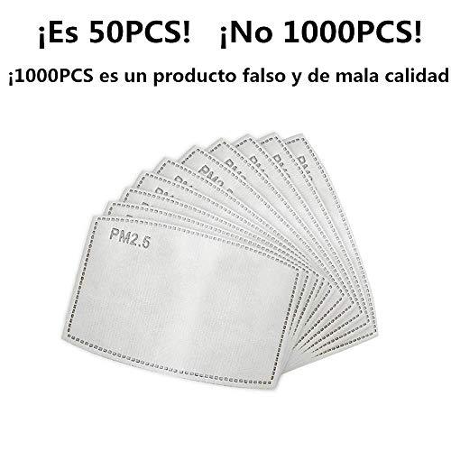 PM2.5, filtro de carbón activado protector de 5 capas reemplazable, papel de filtro externo antivaho, antivaho, antibacteriano, a prueba de polvo, filtro de máscara (1000 PCS)