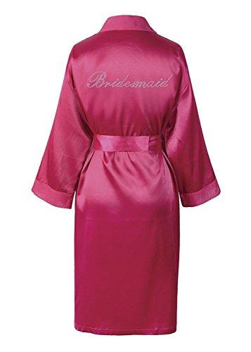 CrystalsRus Varsany Rose de Demoiselle d'honneur en Satin Rhinestone Peignoir Jour du Mariage personnalisé Lune de Miel Robe de Dressage