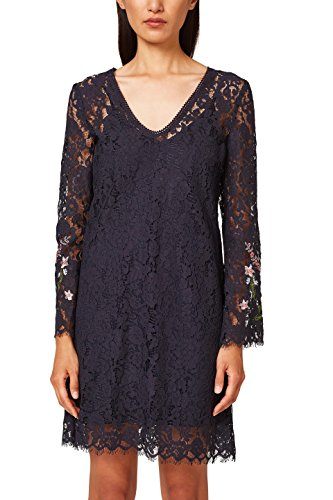 ESPRIT Collection Damen 038EO1E028 Partykleid, Blau (Navy 400), 40