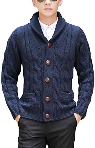 GRMO Mens Cardigan Knit Long Sleeve Button Front Shawl Collar Sweater Coat