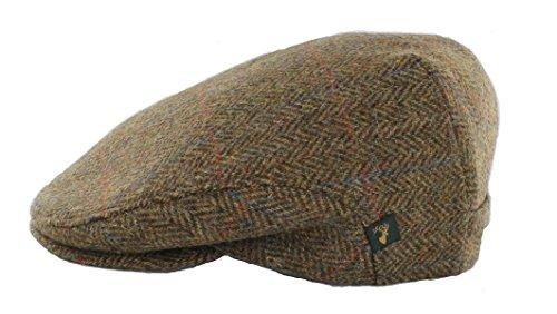 Herringbone Cap Men's Wool Cap Classic Slim Fit Designed in Ireland Brown Large