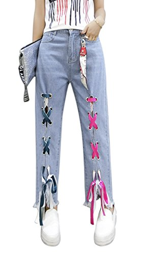QZUnique Women's Denim Retro Splice Ribbon Split Tassel Hem Jeans High Elastic Waist Ninth Pants with Pockets US 12-14
