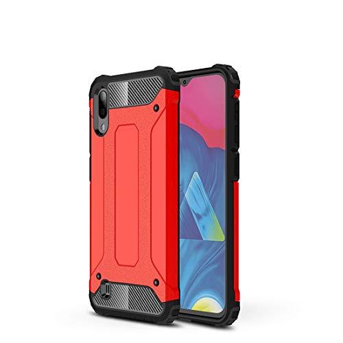 Carcasa de acero para Samsung Galaxy M10, resistente y duradera, funda protectora de grado militar, goma interior de TPU y PC avanzada (color: rojo oscuro)