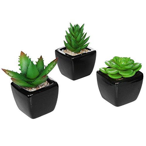 MyGift Set van 3 moderne vierkante zwarte keramiek kunstplanten/mini-faux potplanten.