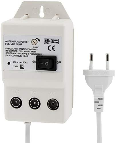 HAVA Digital Antennenverstärker 2-Geräte - UHF 20dB - VHF 36dB - 47-862MHz - regelbar 0-10dB - geeignet für Kabel-TV DVB-T Sky