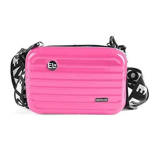 Frauen-Minifest Koffer Form Schultertasche Umhängetasche Handtasche wasserdichte Box-Kupplungs-Geldbeutel-Verfassungs-kosmetischer Beutel (Rose Red)