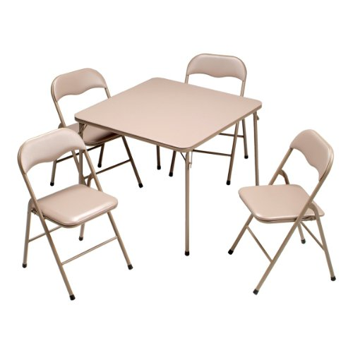 Big Sale Meco 5-Piece Folding Table and Chair Set, Taupe Frame and Taupe Vinyl Upholstery