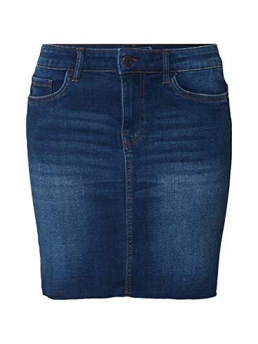 VERO MODA Damen Vmseven MR Short Cut Off Skirt MB Rock, Medium Blue Denim, S