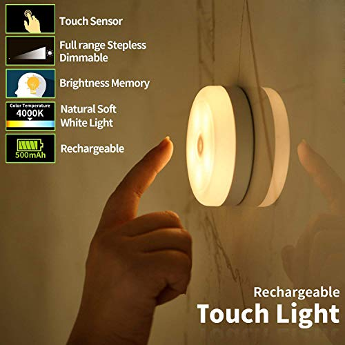 3Packs Touch Light,Tap Light,Stick-on Light,FC-Fancier Rechargeable Touch Light, Stepless Dimmer,Touch Sensor Switch,Last Setting Memory