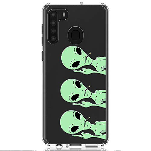 HUIYCUU Compatible with Galaxy A21 Case 6.5', Shockproof Anti-Slip Cute Green Animal Print Clear Design Pattern Funny Slim Crystal Soft Bumper Girl Women Cover Case for Samsung Galaxy A21, Aliens