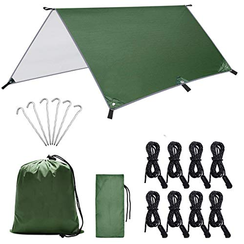 Dokpav 3m x 3m Camping Tent Tarp Shelter, Camping Tarpaulin Anti UV, Lightweight Hammock Rain Fly Waterproof, Camping Tarp Shelter with 6 Aluminium Stakes, 8 Ropes and Carrying Bag for Outdoor Picnic