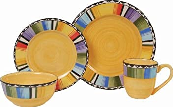 Gibson Home Fandango 16 Piece Dinnerware Set, Yellow