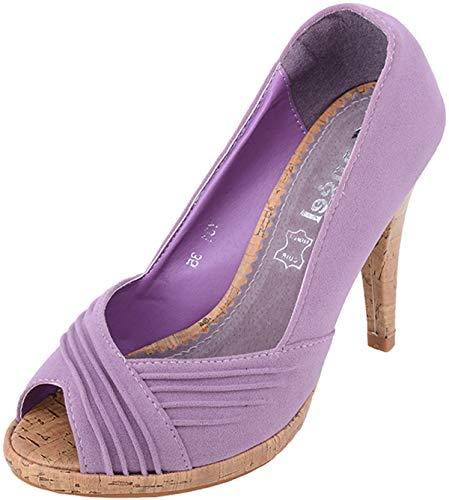 Damen Schuhe Korkabsatz Suede Peep Toes High Heels Lila Peep-Toe 37