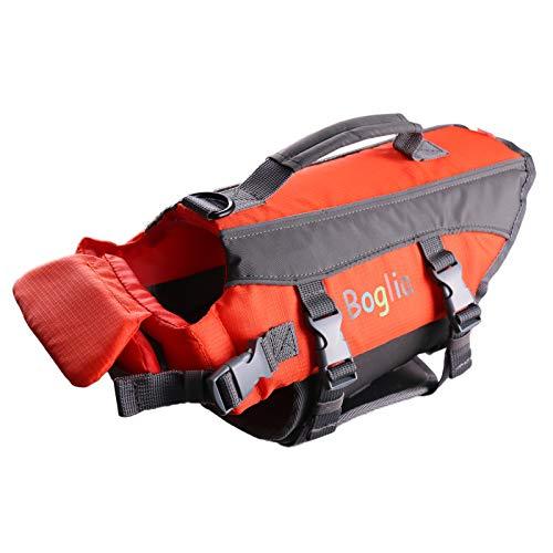 PROTAURI Hund Schwimmweste, verstellbare Schwimmwesten für Wassersicherheitsweste mit Rettungsgriff Sicherheitsweste für Schwimmbad (Orange - S.)