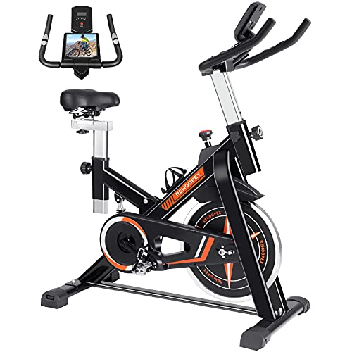 REHOOPEX Exercise Bikes - Belt Drive Indoor Cycling Bike Stationary with LCD Monitor, Tablet Mount and Heart Rate Sensor, Fitness Bike for Home Cardio Workouts
