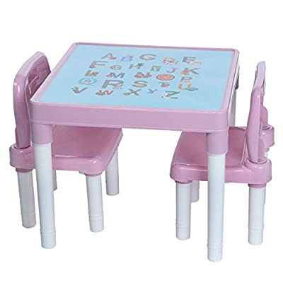 Kids Table and Chair Set for Boys Girls, Alphabet Print Plastic Activity Table and Chairs Set for Toddler Age 4-8, Lightweight Study Play Arts Dining Patio Desk for Children Square 20x20x17'' Pink