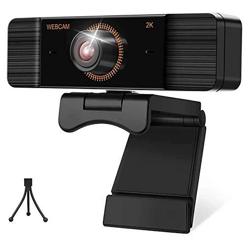 Domilay CáMara Web con MicróFono 30FPS Full HD 2K 1440P CáMara Web con Cubierta de Privacidad y TríPode CáMara de Video Gran Angular