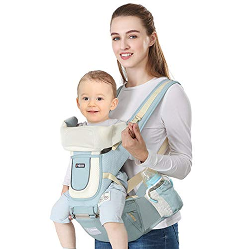 Mmyunx Seat Baby Carrier - Große Aufbewahrungstaschen, verstellbar, maschinenwaschbar, ergonomisches Kind + Kleinkind + Kleinkindtrage, sichere Baumwolltrage,Green