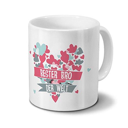 Tasse Bester Bro der Welt - Motiv Herz - Namestasse, Kaffeebecher mit Namen, Mug, Becher, Kaffeetasse - Farbe Weiß