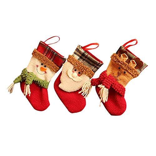 Goplnma Regalo Tradicional Fiesta de Navidad Medias de la Navidad Conjunto De 3 del Reno de Santa muñeco de Nieve con Copo de Nieve (Color : Red)