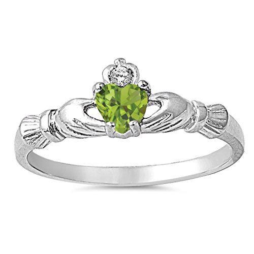 925 Sterling Silver Faceted Natural Genuine Green Peridot Claddagh Heart Promise Ring Size 7
