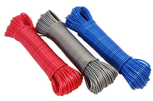 Cuerda para tender con inserto de acero, 30 metros, diferentes colores