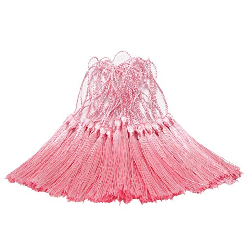 DIY Tassel, Silky Handmade Soft Tassels 5 Inch, Floss Bookmark Tassels with 2 Inch Cord Loop for Jewelry Making Craft Projects, Bookmarks, Earrings Tassels, Curtain Tassels(Pink, 200PCS)