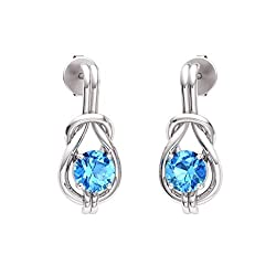 Blue-Topaz Gemstone Infinity Knot Solitaire Earrings in 14k White Gold