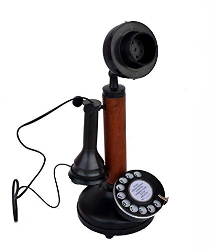 RETAILHOOKS Antique Replica Rotery Dial Home Decor Candlestick Functional Antique Finish Desk Telephone