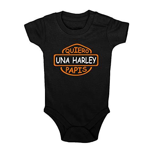 ClickInk Body bebé Quiero una Harley papis. Regalo bebé. Regalos para bebés. Regalo divertido. Bebé friki. Regalo friki. Body friki. Bebé motero. Body bebé algodón. Manga corta.