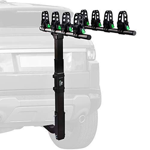 STEGODON 4 Bike Hitch Rack 2'' Hitch Receiver Heavy Duty Bicycle Carrier Racks with Dual Compound Spine Shield Hitch Mount Double Foldable Rack for Cars,Trucks, SUV,Hatchback RV,Tow Hitch and Minivans