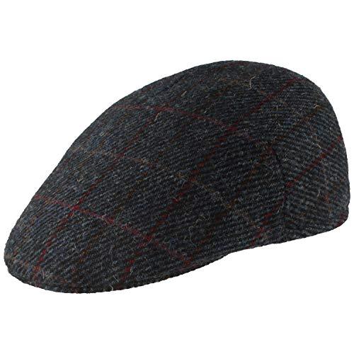Gorro de invierno para hombre, plano, con visera, de lana, con visera que se puede apretar, agradable al tacto y cómodo, Azul a cuadros., Medium